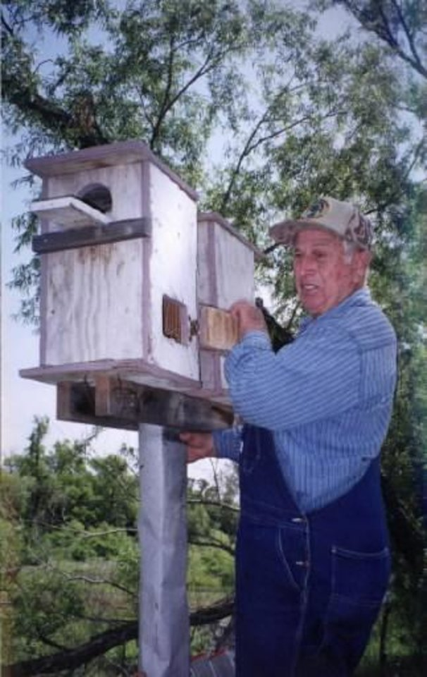 Photo - Raymond Beck of Marlow with his wood duck nesting boxes. Photo provided