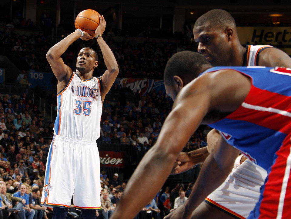 Oklahoma City's Kevin Durant (35) takes a foul shot during the NBA basketball game between the Detroit Pistons and Oklahoma City Thunder at the Chesapeake Energy Arena in Oklahoma City, Monday, Jan. 23, 2012. Photo by Nate Billings, The Oklahoman