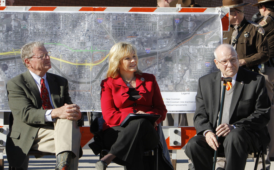 Sen. Jim Inhofe, Gov. Mary Fallin, and Gary Ridley, Oklahoma Secretary of Transportation, listen to a speaker during grand opening ceremonies for the east bound lanes of the I-40 Crosstown in Oklahoma City Thursday, Jan. 5, 2012. Photo by Paul B. Southerland, The Oklahoman