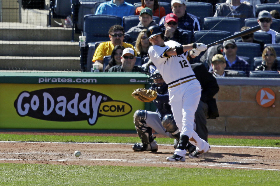 Pittsburgh Pirates' Clint Barmes (12) singles in Pirates' Neil Walker for the go ahead run, off Atlanta Braves starting pitcher Kris Medlen (54) during the sixth inning of a baseball game in Pittsburgh Sunday, April 21, 2013. The Pirates won 4-2. (AP Photo/Gene J. Puskar)