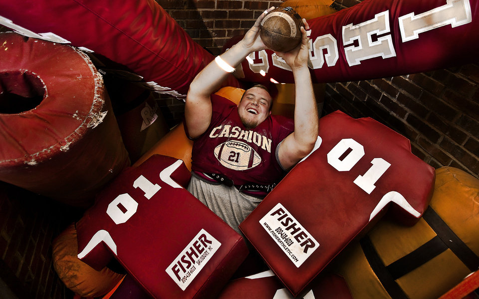 Cashion High School\'s offensive lineman Dexton Robertson, who has overcome two torn ACL\'s during his football career poses for a photo on Tuesday, Nov. 20, 2012, in Cashion, Okla. Photo by Chris Landsberger, The Oklahoman