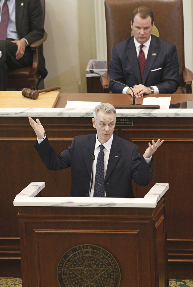 Senator Steve Russell speaks at a joint session of Legislature to honor veterans at the state Capitol, Wednesday, February 22, 2012.   Photo by David McDaniel, The Oklahoman