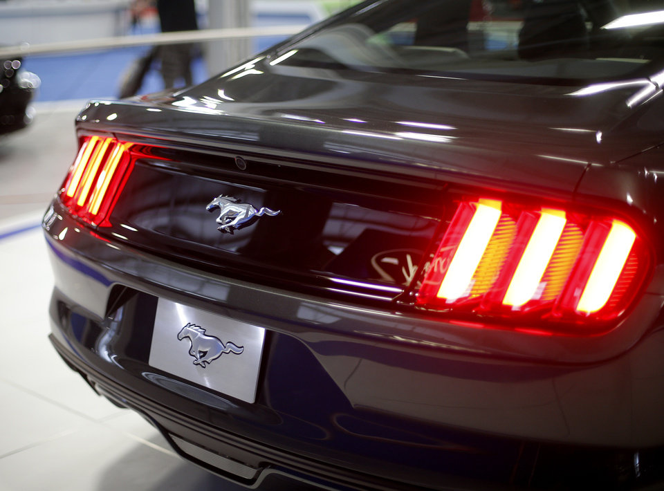 Photo -  The 2015 Ford Mustang is seen before the upcoming Oklahoma City International Auto Show at State Fair Park.    BRYAN TERRY -