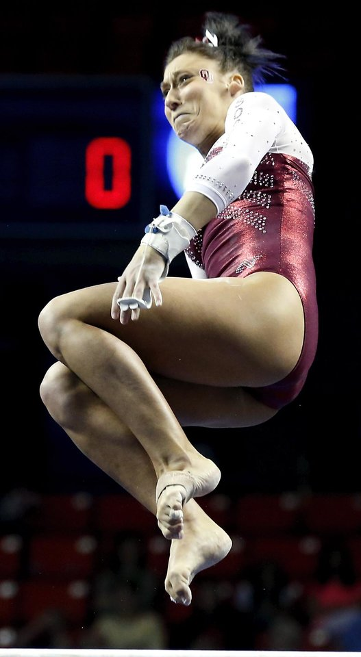 Taylor Spears competes in the uneven bars as the University of Oklahoma Sooners (OU) compete at the NCAA, Women's Gymnastics Regional at The Lloyd Noble Center on Saturday, April 6, 2013  in Norman, Okla. Photo by Steve Sisney, The Oklahoman