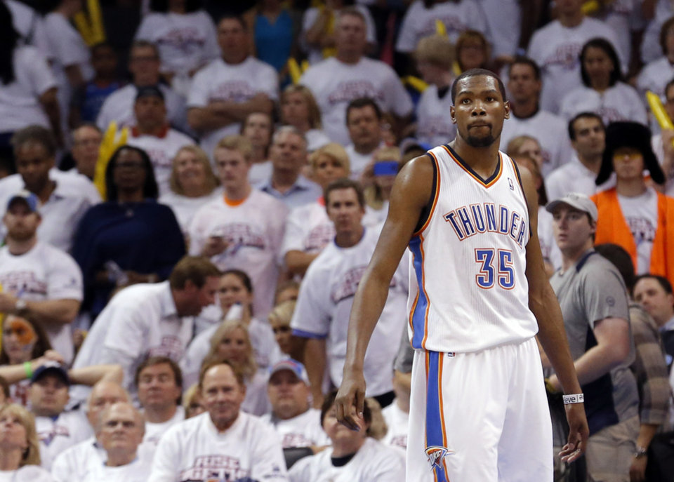 Oklahoma City\'s Kevin Durant (35) reacts after losing Game 2 in the second round of the NBA playoffs between the Oklahoma City Thunder and the Memphis Grizzlies at Chesapeake Energy Arena in Oklahoma City, Tuesday, May 7, 2013. Memphis won 99-93. Photo by Sarah Phipps, The Oklahoman