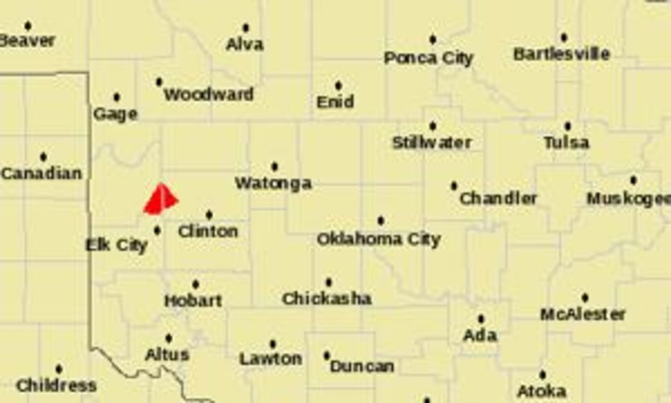 Photo - The parts of Oklahoma for which a tornado warning is in effect are seen in this National Weather Service map.