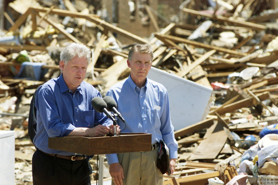 Tornado damage tour: President Bill Clinton & FEMA director James Lee Witt.
