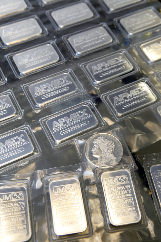 These 1-ounce silver bars are for sale at the Silver and Gold Exchange at 1715 N Portland in Oklahoma City.  Photo By Paul Hellstern, The Oklahoman