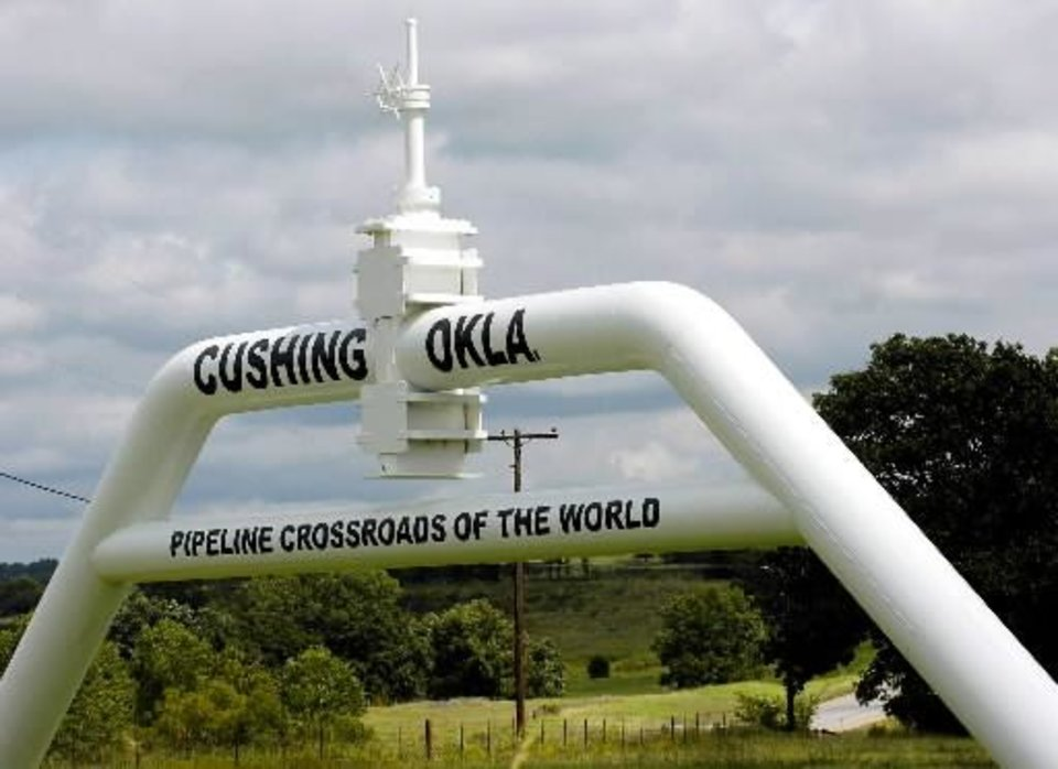 In this Sept. 15, 2005 file photo, the marker that welcomes commuters to Cushing, Okla. is seen. Canadian company TransCanada says it will build an oil pipeline from Oklahoma to Texas after President Barack Obama blocked the larger Keystone XL pipeline from Canada. The company says the new project does not require presidential approval since it does not cross a U.S. border. The shorter pipeline is expected to cost about $2.3 billion and be completed in 2013. (AP Photo/The Oklahoman, Matt Strasen, File)