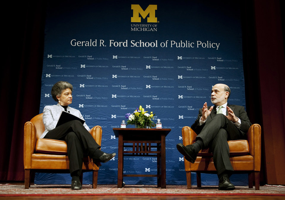 Federal Reserve Chairman Ben Bernanke speaks with Ford School of Public Policy Dean Susan Collins at Rackham Auditorium on Monday, Jan. 14, 2013, at the University of Michigan in Ann Arbor, Mich. (AP Photo/AnnArbor.com, Daniel Brenner) LOCAL TV OUT; LOCAL INTERNET OUT