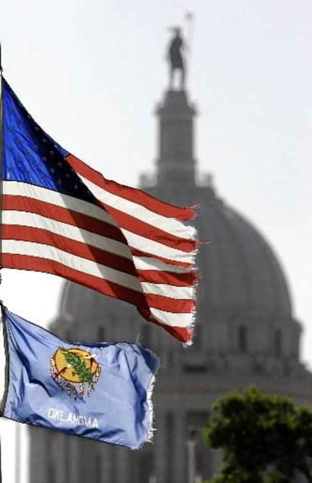 Flags fly near the Oklahoma state Capitol in this file photo.