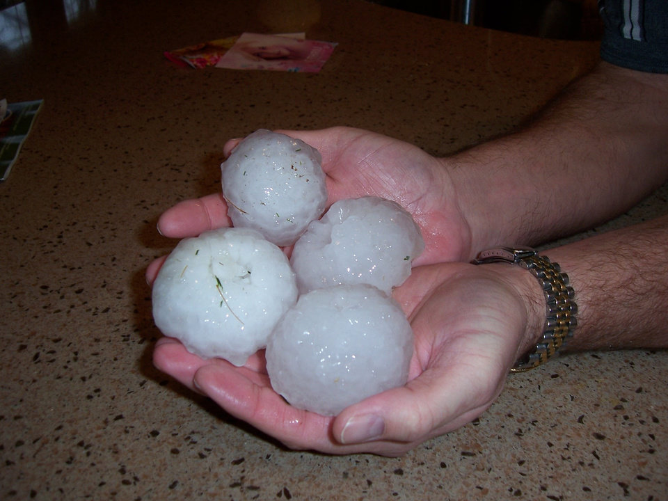 Hail from Garth Brooks and I-40 in Yukon. Photo by Cassandra Strange.