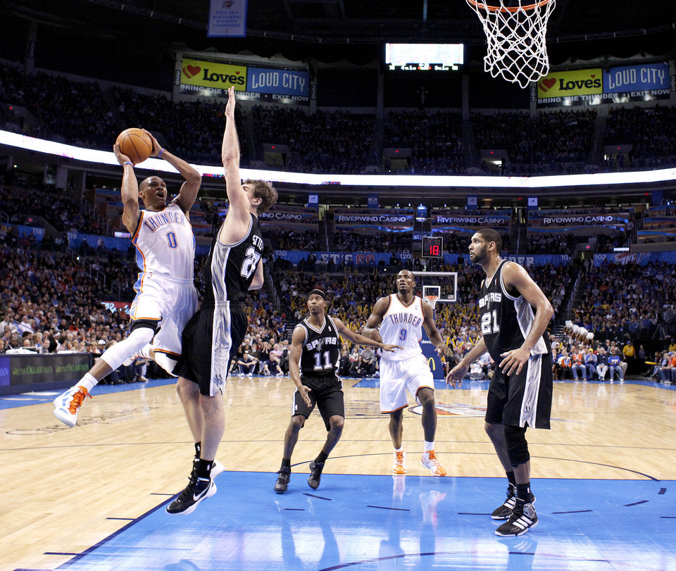Oklahoma City Thunder\'s Russell Westbrook (0) shoots as San Antonio Spurs\' Tiago Splitter (22) defends during the the NBA basketball game between the Oklahoma City Thunder and the San Antonio Spurs at the Chesapeake Energy Arena in Oklahoma City, Sunday, Jan. 8, 2012. Photo by Sarah Phipps, The Oklahoman
