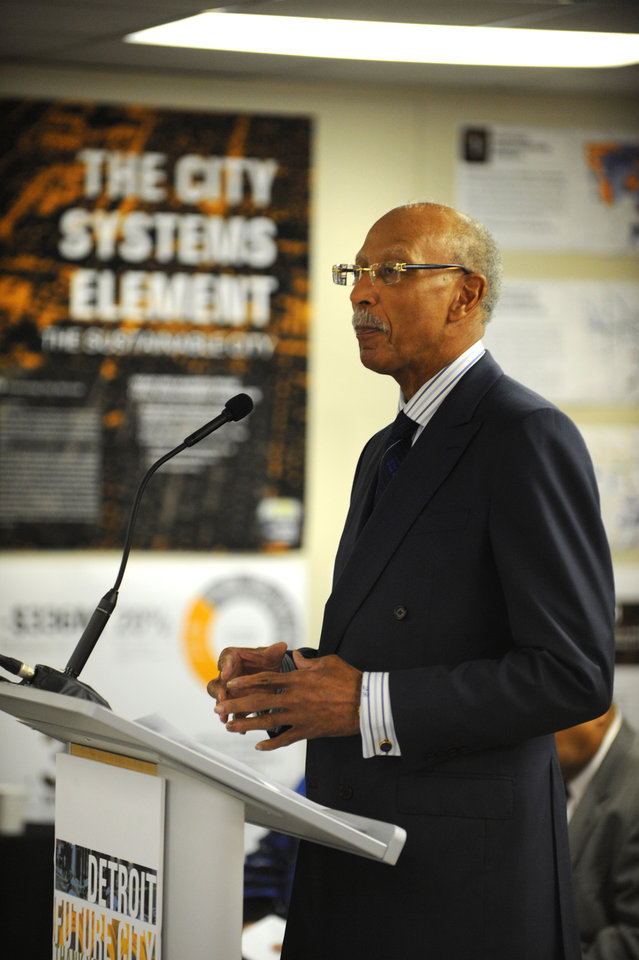 Detroit Mayor Dave Bing speaks during a new conference announcing a framework for future decision making titled