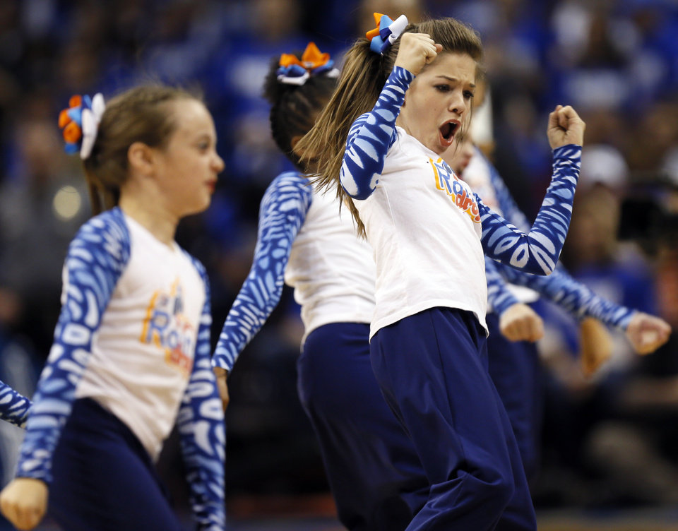 The Rain Drops, the Thunder's junior dance team, performs during Game 1 in the first round of the NBA playoffs between the Oklahoma City Thunder and the Houston Rockets at Chesapeake Energy Arena in Oklahoma City, Sunday, April 21, 2013. Photo by Nate Billings, The Oklahoman
