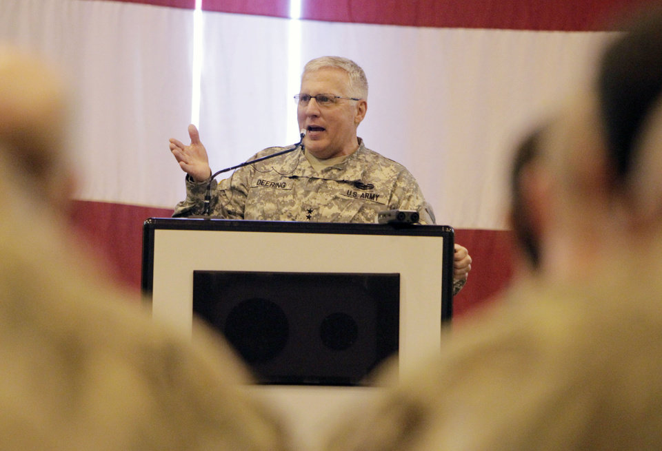 Major General Myles L. Deering talks to Oklahoma National Guard soldiers returning from Afghanistan during a welcome home ceremony in Oklahoma City, OK, Tuesday, March 13, 2012,  By Paul Hellstern, The Oklahoman