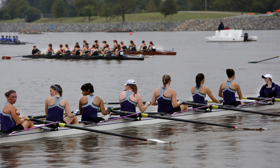 A Kansas State University team backs into the docks after a race. Regatta Festival on the Oklahoma River in the Boat District, Saturday, Sep. 29, 2012. The event ends Sunday. Photo by Jim Beckel, The Oklahoman.