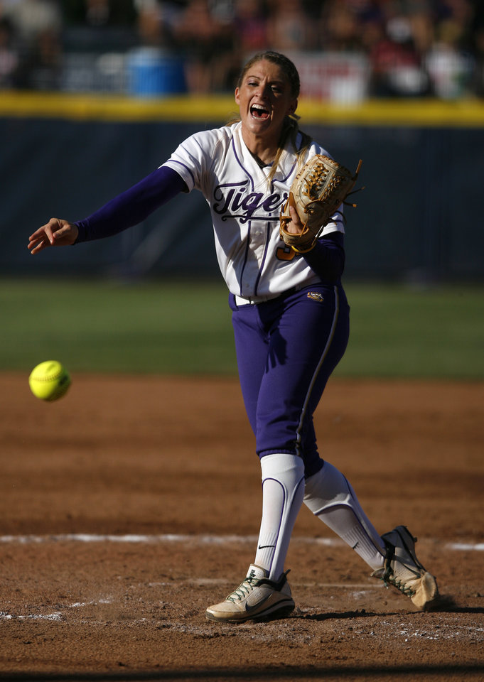 Photo - LSU's Rachele Fico (37) pitches during a Women's College World Series game between Arizona State and LSU at ASA Hall of Fame Stadium in Oklahoma City, Saturday, June 2, 2012.  Photo by Garett Fisbeck, The Oklahoman