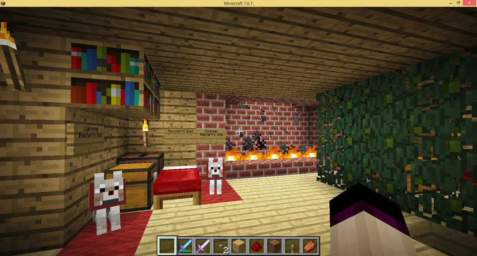 Photo - A 13-year-old designed this room in Minecraft and included a fireplace and dogs, shown in this screen shot of the game.