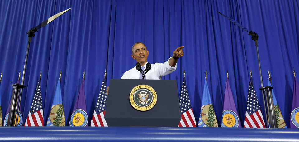 Photo - President Barack Obama gives a speech at Durant High School in Durant, Okla., Wednesday, July 15, 2015. Photo by Nate Billings, The Oklahoman