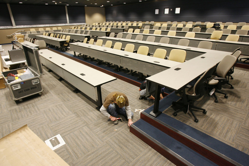 Photo - UCO: The auditorium/large classroom of the new Forensic Science Institute on the campus of the University of Central Oklahoma in Edmond, OK, is nearing completion, Tuesday, Dec. 1, 2009. By Paul Hellstern, The Oklahoman ORG XMIT: KOD
