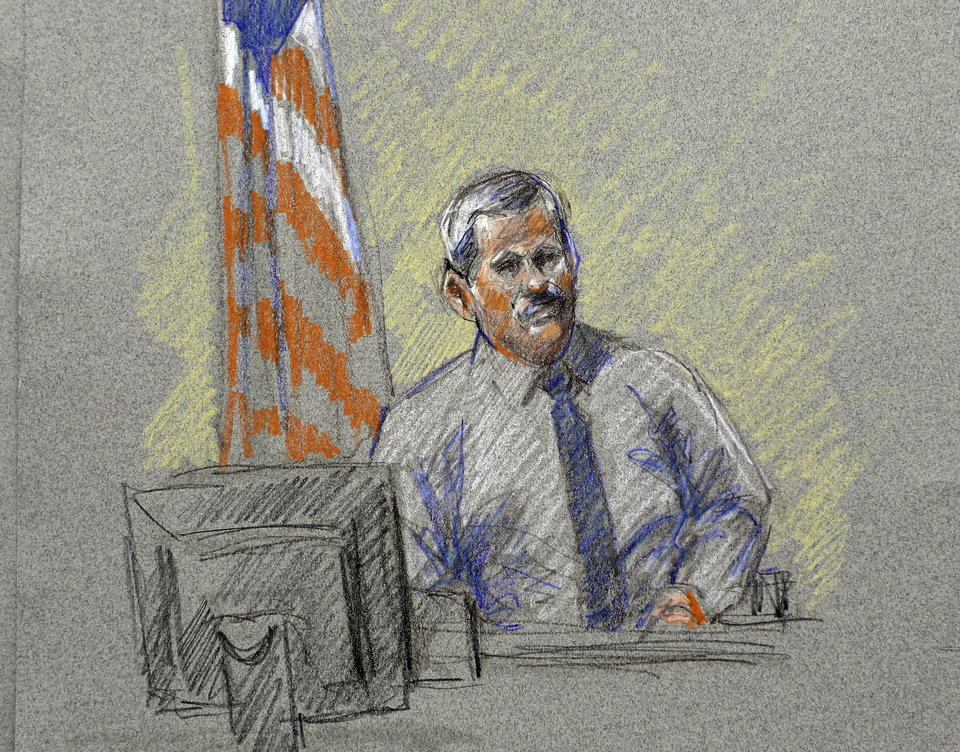 Photo - Randy Royer, who was shot twice during the Fort Hood shootings, is depicted in a courtroom sketch at the Lawrence William Judicial Center during the sentencing phase for Maj. Nidal Hasan, Tuesday, Aug. 27, 2013, in Fort Hood, Texas. Hasan was convicted of killing 13 of his unarmed comrades in the deadliest attack ever on a U.S. military base. (AP Photo/Brigitte Woosley)