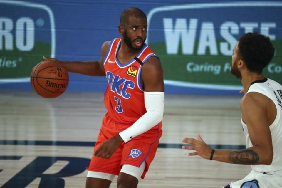 Photo -  Oklahoma City Thunder guard Chris Paul (3) controls the ball against Memphis Grizzlies forward Kyle Anderson (1) during the first half of an NBA basketball game Friday, Aug. 7, 2020, in Lake Buena Vista, Fla. (Kim Klement/Pool Photo via AP)