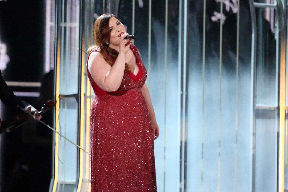 """Photo - Mary Lambert performs """"Same Love"""" on stage at the 56th annual Grammy Awards at Staples Center on Sunday, Jan. 26, 2014, in Los Angeles. (Photo by Matt Sayles/Invision/AP)"""