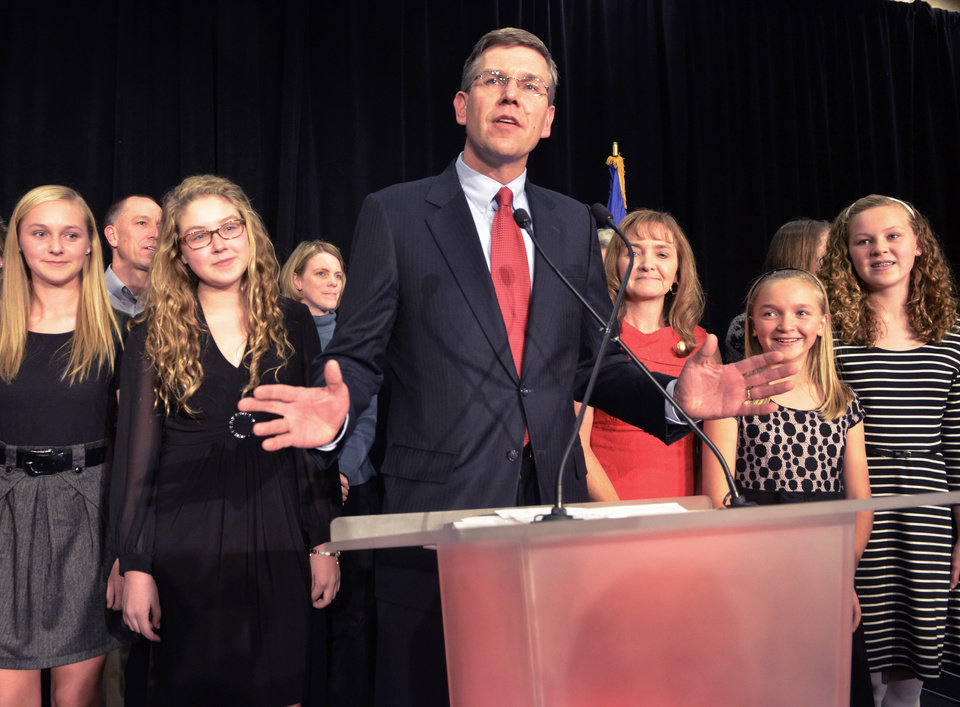 Minnesota third district Congressman Erik Paulsen address the crowd at the Republican Election headquarters, Tuesday, Nov. 6, 2012 in Bloomington, Minn. Paulsen defeated Democratic candidate Brian Barnes. (AP Photo/Tom Olmscheid)
