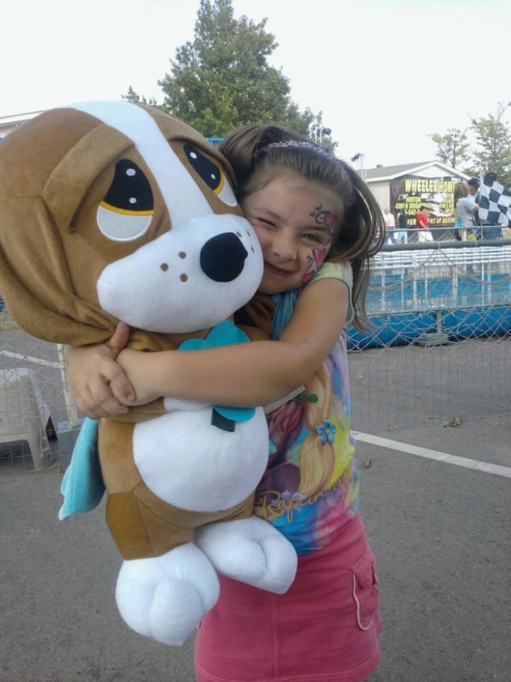 Won a big Puppy for the Grandgirl.  It made us smile.