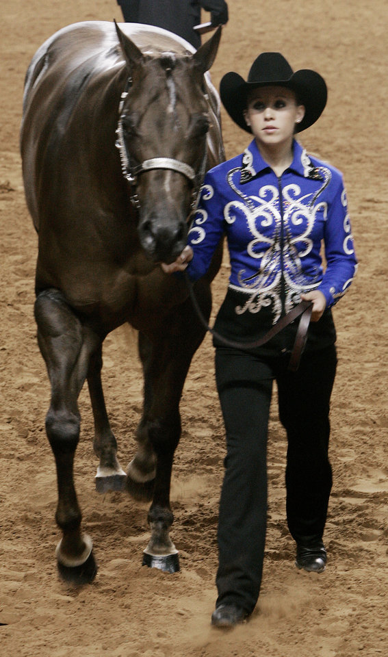 Nicolette Kindt tracts her horse Norma Gene a three year old mare in the preliminary working order class during competition Sat. Aug. 8, 2009 in OKC at the state fairgrounds. Photo by Jaconna Aguirre, The Oklahoman