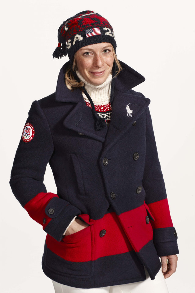 This undated product image provided by Ralph Lauren shows U.S. Olympic skier Hannah Kearney wearing fashion by designer Ralph Lauren for the 2014 Winter Olympics. Every article of clothing made by Ralph Lauren for the U.S. Olympic athletes in Sochi has been made by domestic craftsman and manufacturers. (AP Photo/Ralph Lauren)