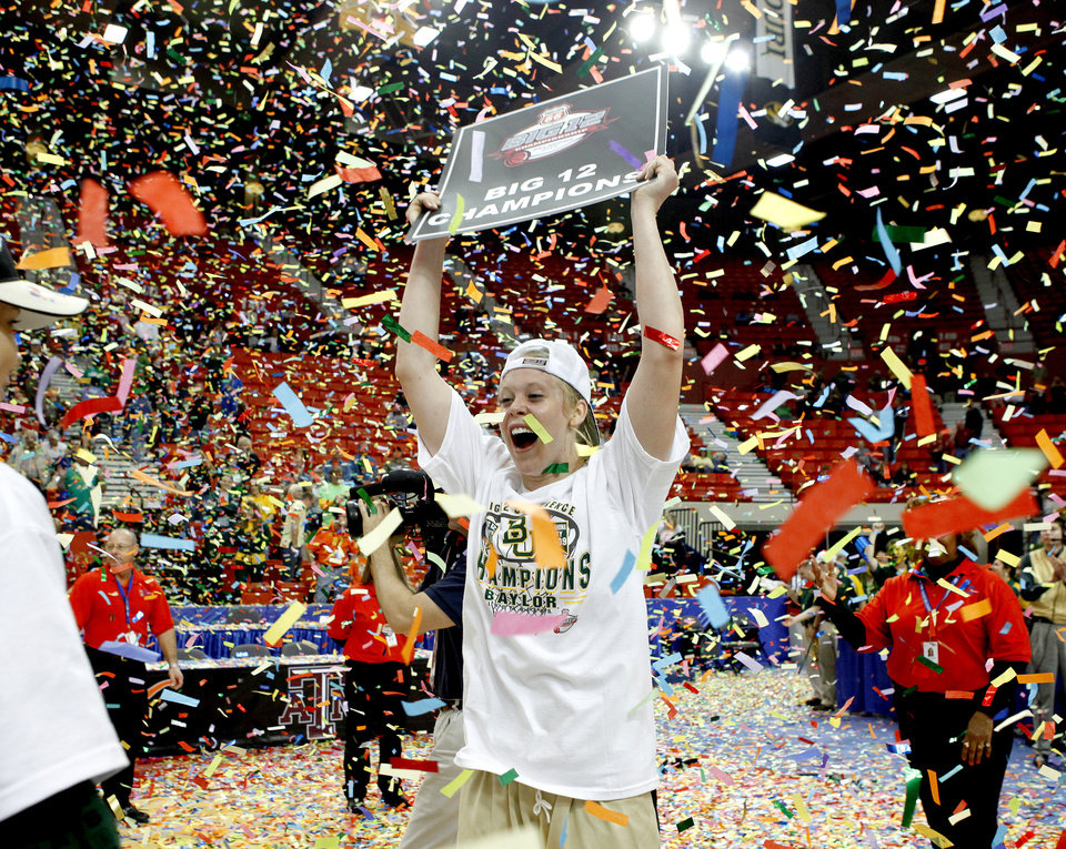 Photo - Baylor's Melissa Jones celebrates after winning the championship game of the Big 12 Women's Basketball Championship between Baylor and Texas A&M at the Cox center in Oklahoma City, Sunday, March 15, 2009. PHOTO BY BRYAN TERRY, THE OKLAHOMAN