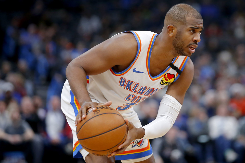 Photo - Oklahoma City's Chris Paul (3) during an NBA basketball game between the Oklahoma City Thunder and the Cleveland Cavaliers at Chesapeake Energy Arena in Oklahoma City, Wednesday, Feb. 5, 2020. Oklahoma City won 109-103. [Bryan Terry/The Oklahoman]
