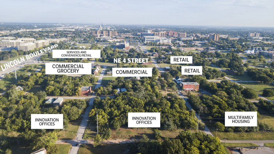 Photo -  A planned use development zoning request would allow for housing, offices and retail in a largely undeveloped area on the south end of what is being recast as an innovation district east of downtown. [Photos by Dave Morris, The Oklahoman]