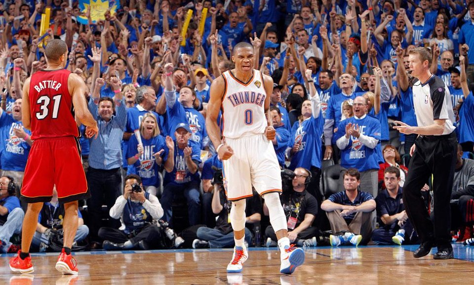 Photo -  Oklahoma City's Russell Westbrook (0) reacts after a three-point shot during Game 1 of the NBA Finals between the Oklahoma City Thunder and the Miami Heat at Chesapeake Energy Arena in Oklahoma City, Tuesday, June 12, 2012. Photo by Chris Landsberger, The Oklahoman