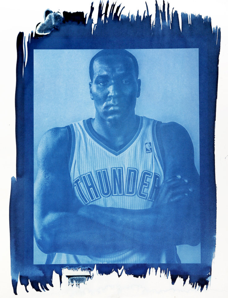 Photo - Kendrick Perkins averaged six rebounds per game for OKC last year.Photo by Chris Landsberger/ Cyanotype print by Nate Billings, The Oklahoman
