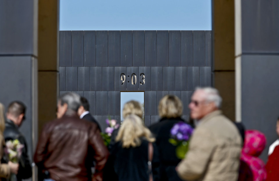 Supports walk the grounds of the Oklahoma City Bombing Memorial during the 18th Anniversary Remembrance Ceremony of the Oklahoma City bombing on Friday, April 19, 2013, in Oklahoma City, Okla.   Photo by Chris Landsberger, The Oklahoman