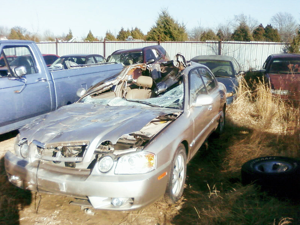 Edna Brinker's car was crushed when she hit a horse on  State Highway 9 in December. She died at the scene of the  accident. PHOTO PROVIDED