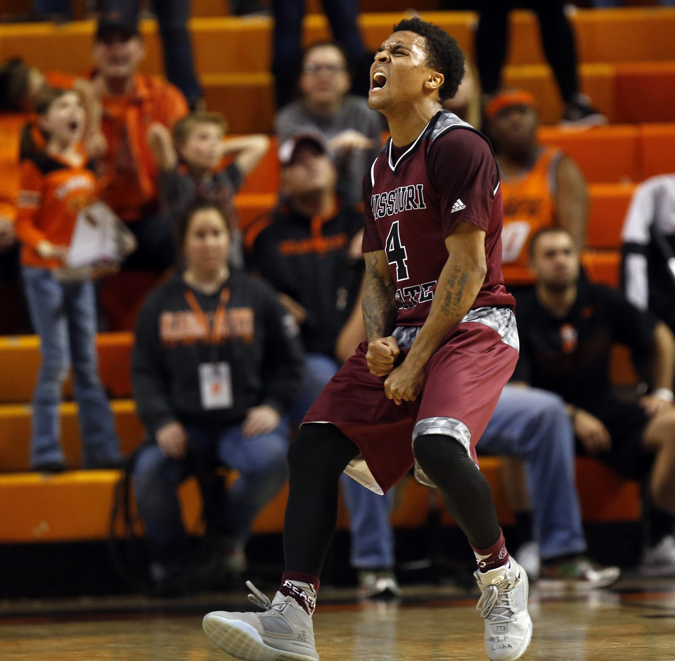 Photo - Missouri State's Dequon Miller (4) reacts after making a shot and being fouled in the second half during a men's college basketball game between Oklahoma State and Missouri State at Gallagher-Iba Arena in Stillwater, Okla., Saturday, Dec. 5, 2015. Missouri State won 64-63. Photo by Nate Billings, The Oklahoman