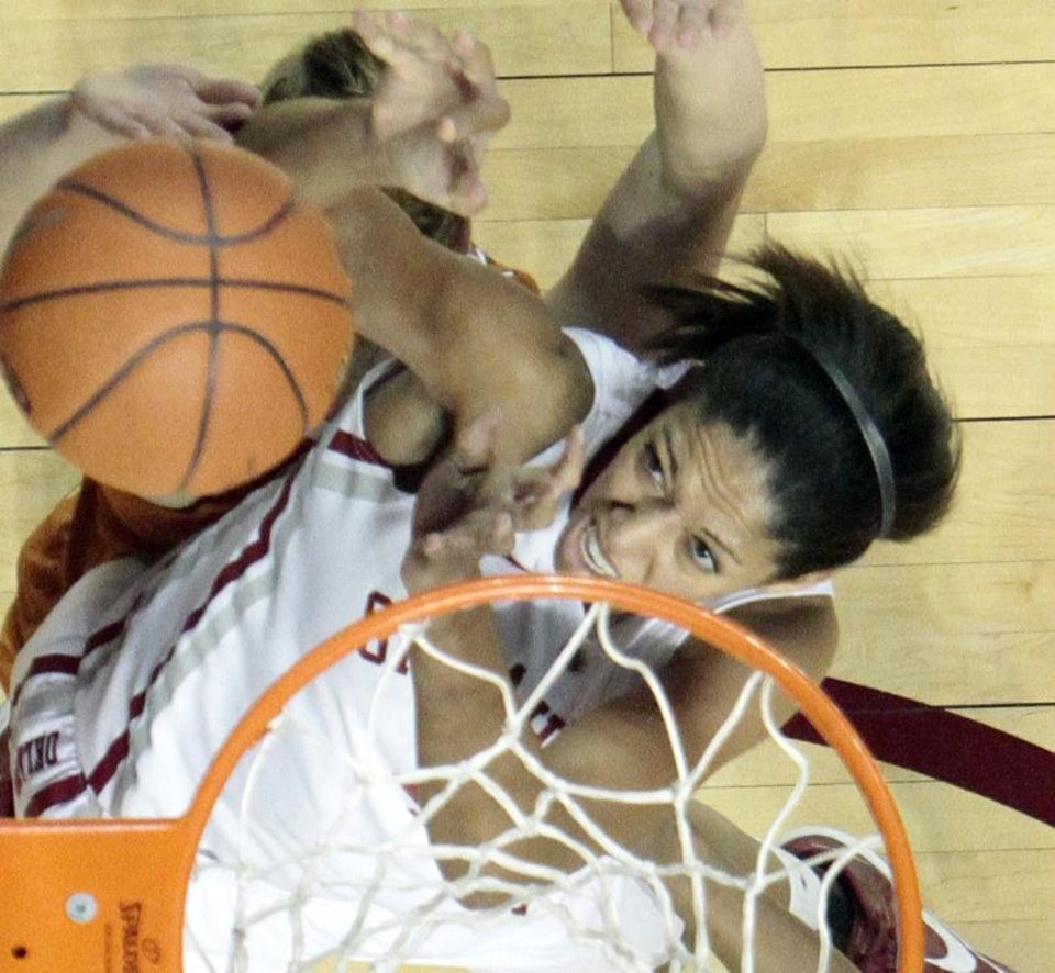 as the University of Oklahoma Sooners (OU) defeat the University of Texas (UT) Longhorns 69-56 in NCAA, women's college basketball at The Lloyd Noble Center on Saturday, Jan. 19, 2013 in Norman, Okla. Photo by Steve Sisney, The Oklahoman
