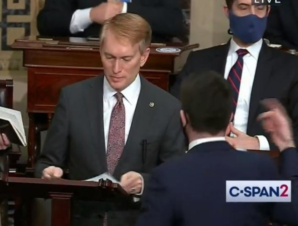Photo -  This screen shot, from C-SPAN2, shows Sen. James Lankford speaking on the Senate floor on Jan. 6 just before police evacuated the Senate as rioters broke into the U.S. Capitol.