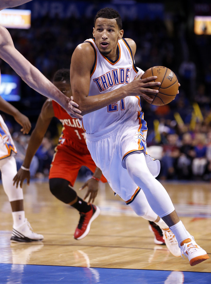 Photo - Thunder's Andre Roberson (21) plays during the second half of an NBA basketball game between the Oklahoma City Thunder and the New Orleans Pelicans at Chesapeake Energy Arena on Dec. 21, 2014 in Oklahoma City, Okla. Photo by Steve Sisney, The Oklahoman