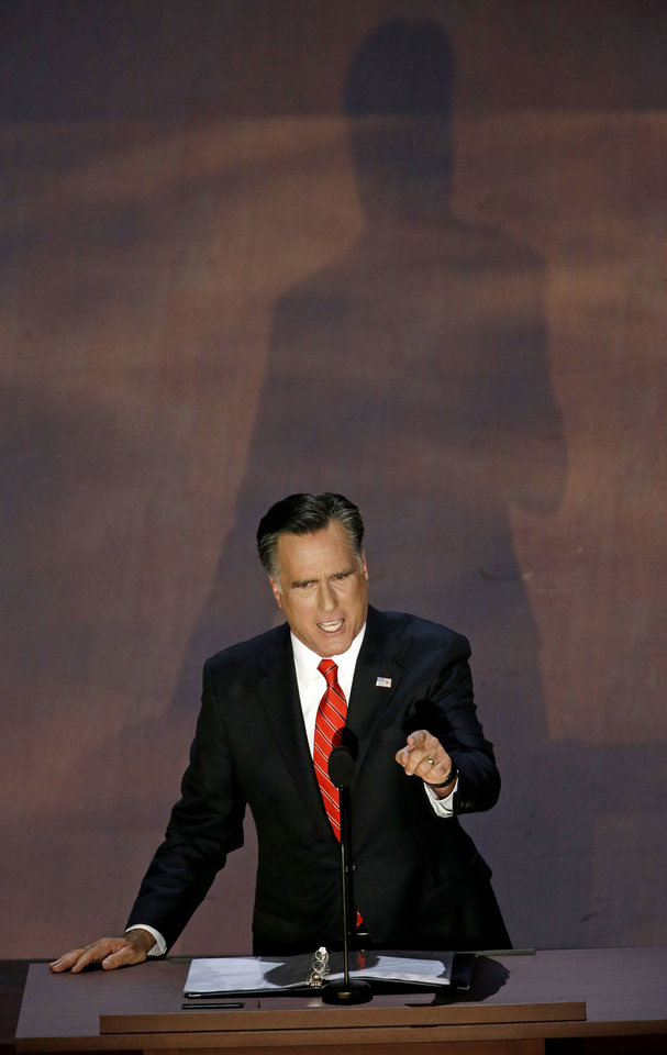 Photo -   Republican presidential nominee Mitt Romney addresses the Republican National Convention in Tampa, Fla., on Friday, Aug. 31, 2012. (AP Photo/Patrick Semansky)
