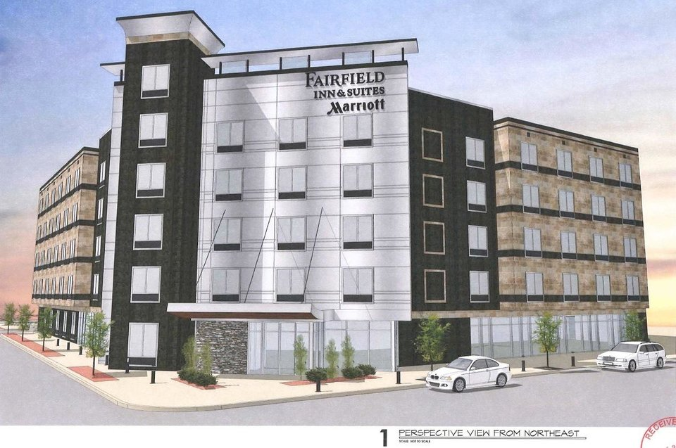 Photo - A revised design for a Fairfield Inn & Suites, shown in this rendering, was submitted this week to the city's planning department.
