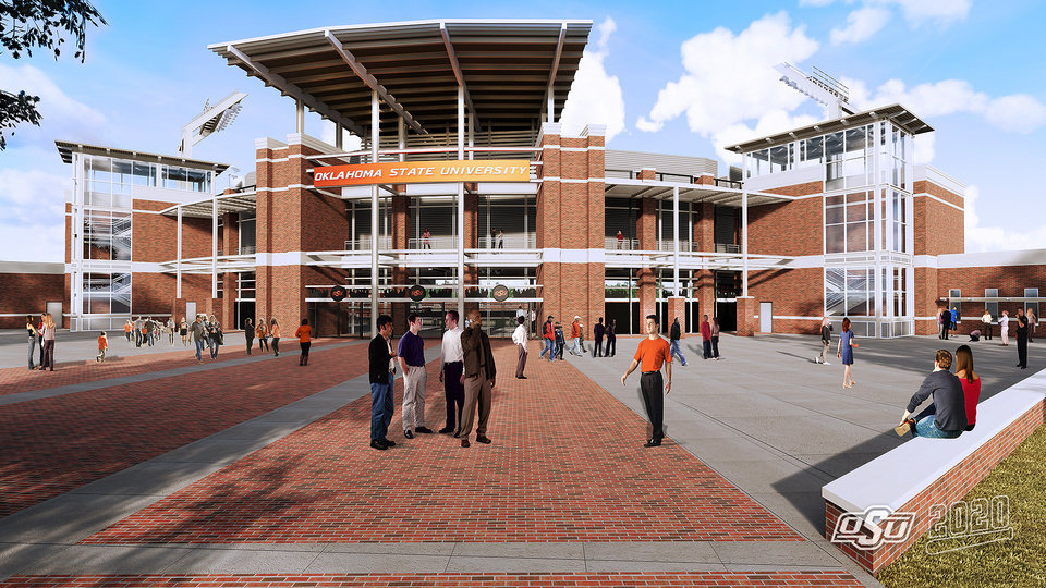 Photo -  The entrance to Oklahoma State's new baseball stadium is shown in this rendering that was released Thursday. The complex will include approximately of 3,500 permanent seats, 13 suites and 400 premium seats. Seating can be expanded to 8,000 as needed. [ILLUSTRATION COURTESY OF OSU ATHLETICS]