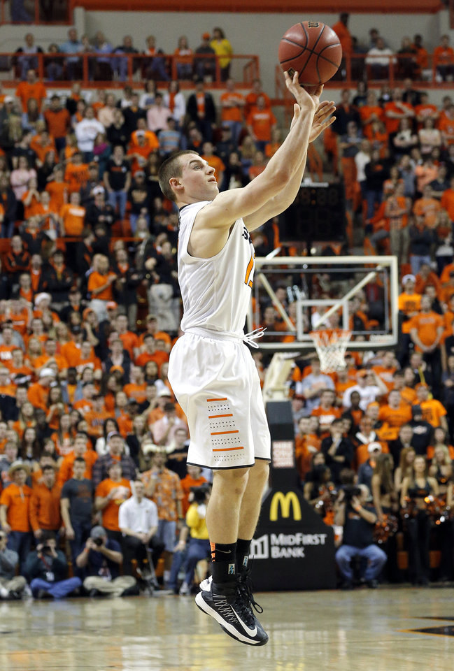 Oklahoma State\'s Phil Forte (13) shoots during the Bedlam men\'s college basketball game between the Oklahoma State University Cowboys and the University of Oklahoma Sooners at Gallagher-Iba Arena in Stillwater, Okla., Saturday, Feb. 16, 2013. Photo by Sarah Phipps, The Oklahoman