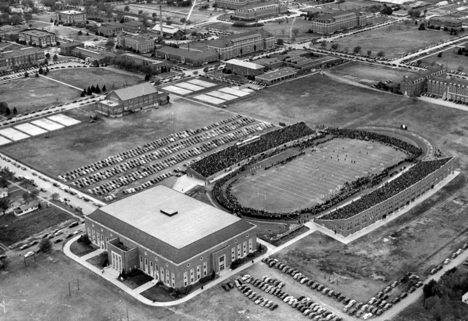 OKLAHOMA STATE UNIVERSITY / OSU / OVERVIEW / AERIAL: Stillwater -- Gallagher-Iba arena and Lewis field on Nov. 10, 1945
