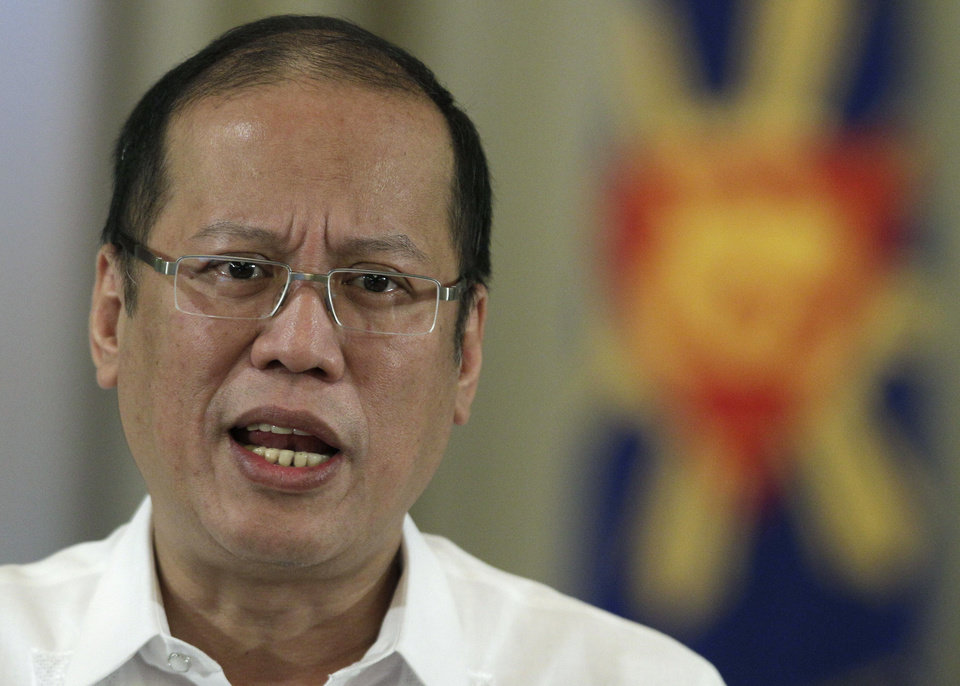 Philippine President Benigno Aquino III delivers a speech on national television at the Malacanang Presidential Palace in Manila, Philippines on Sunday, Oct. 7, 2012. Aquino said Sunday that his government has reached a preliminary peace agreement with the nation\'s largest Muslim rebel group in a major breakthrough toward ending a decades-long insurgency in the country\'s south. (AP Photo/Aaron Favila)