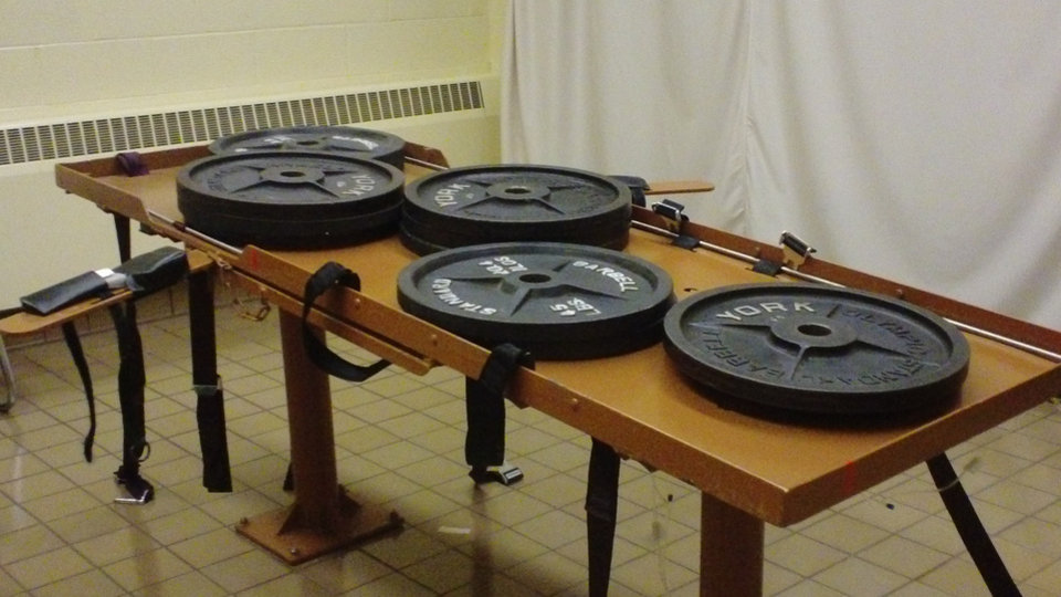 Photo - This undated photo provided by the Ohio Department of Rehabilitation and Corrections shows 540 pounds of weights placed on the execution table at the Southern Ohio Correctional Facility in Lucasville, Ohio to test the table's load bearing. Ohio death row inmate Ronald Post, scheduled for execution Jan. 16, 2013, is arguing that, at 450 pounds, can not be humanely executed under both the state's usual method and the untested backup procedure. (AP Photo/Ohio Dept. of Rehabilitation and Corrections)